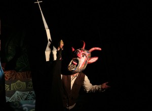 The devil goes to church, from the 2013 Esopus Creek Puppet Suite, photo by Bart Friedman